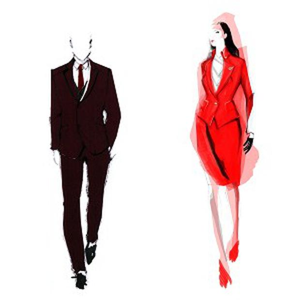 An illustration of the new male and female Virgin Atlantic cabin crew uniforms designed by Vivienne Westwood (Virgin Atlantic/PA)