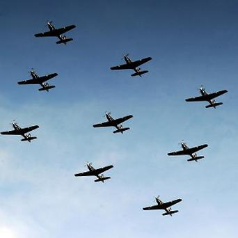 A nine ship Tucano formation from RAF Linton On Ouse, flies over York Minister during an Anglo/French flypast following a memorial service at York Minster, for the inauguration of a memorial stone commemorating the French airmen based in York, who fought with RAF Bomber Command in WWII.