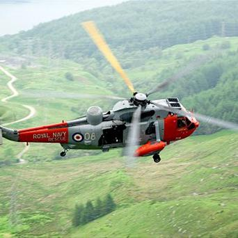 A routine Navy exercise turned into a dramatic rescue for a helicopter crew called to airlift a sick baby from a remote peninsula (Royal Navy/MoD)
