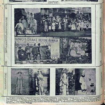 British Newpapers Archive handout of a dog dressed as a clown (bottom right)