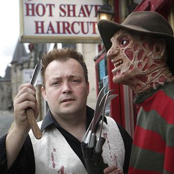 Will Robertson at his Sweeney Todd Demon Barber themed barber shop in Pitlochry