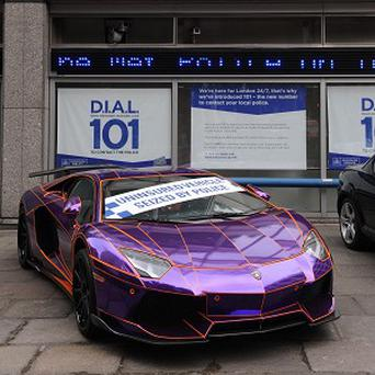 A Lamborghini Aventador, which was seized on Wilton Place in Knightsbridge by police for being driven illegally without insurance
