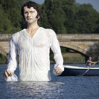 A statue of Jane Austen's romantic hero Mr Darcy in The Serpentine in London's Hyde Park