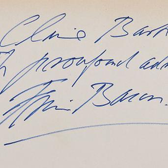 A book signed by Francis Bacon and gifted to fellow artist Clive Barker is to go on auction