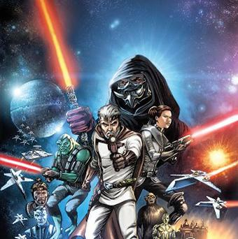A comic book cover image provided by Dark Horse Comics shows characters in The Star Wars. (AP/Dark Horse Comics)