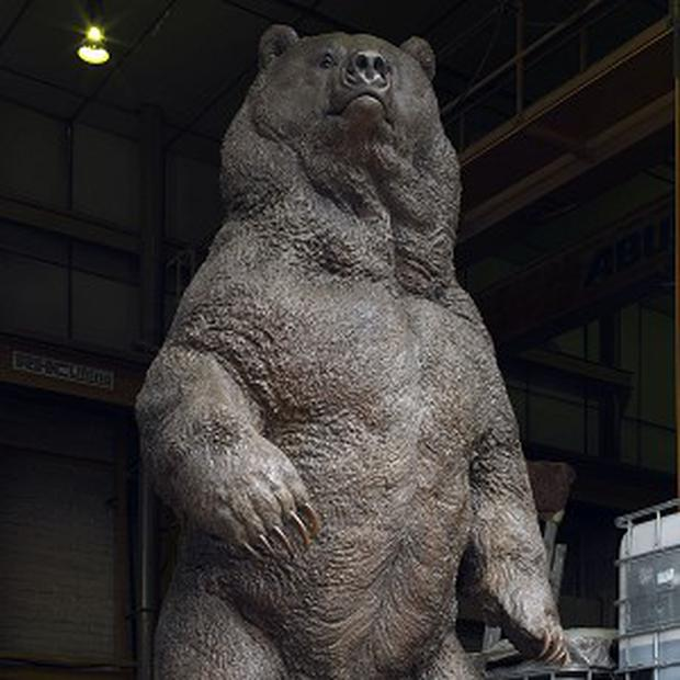 The biggest bronze sculpture of a grizzly bear ever made in Britain, made by sculptor Nick Bibby and his team
