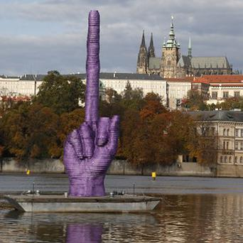 The sculpture on Prague's Vltava river (AP)