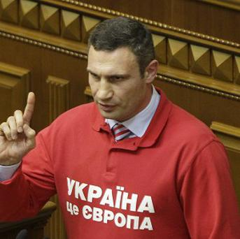 Chairman of the Ukrainian opposition party Udar and WBC Heavyweight Champion boxer Vitali Klitschko (AP/Sergei Chuzavkov)