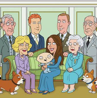 The creators of hit US comedy Family Guy have swapped Prince George for psychopathic baby Stewie in their version of the royal christening photo
