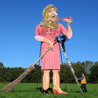 Artist Frank Shepherd puts the final touches to his creation of TV's Katie Hopkins, unveiled as this year's Edenbridge Bonfire Society celebrity guy in Kent