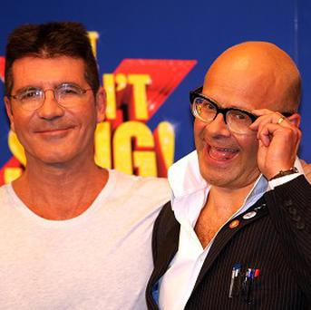 Simon Cowell and Harry Hill at the launch of the X Factor musical I Can't Sing, which is looking for 250 people to feature in the show each night