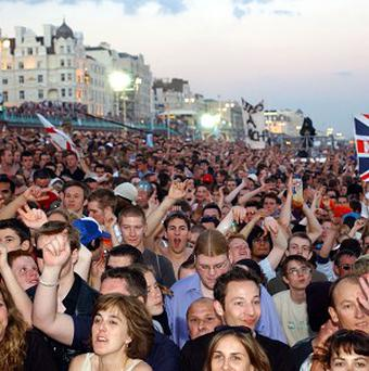 The crowd attracted by Fatboy Slim on Brighton Beach.