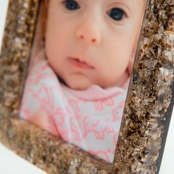 Close up of a photo frame made from a mother's placenta (University of Brighton/PA)