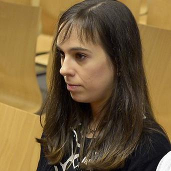 Pianist Laia Martin sits in a courtroom in Girona, Spain (AP)