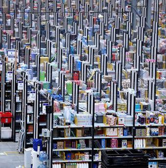 A packed Amazon warehouse - online shoppin ghas hit a single-day record.