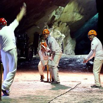 Threlkeld and Caldbeck cricket clubs take part in the world's first underground cricket match inside Fleetwith Pike.