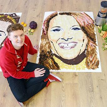 Nathan Wyburn with his series of food art depicting The X Factor finalists (Grayling/PA)