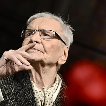 Romanian actor Radu Beligan performs at the National Theatre in Bucharest after being named the worlds oldest active actor at age 95 (AP)