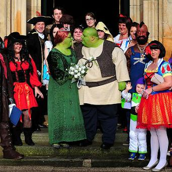 Nathan Gibbs and Amanda Billington get married dressed as Shrek and Princess Fiona in aid of Cancer Research