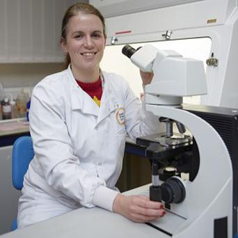 Microbiologist Zoe Gunning, who is back at work after being severely injured in a car crash last year (University Hospital Southampton NHS Foundation Trust/PA)