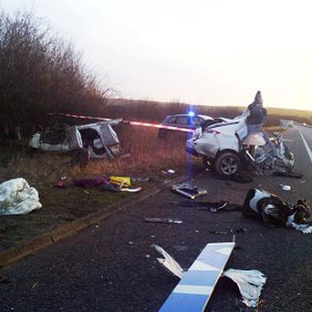 The car was sliced in two in an incident near junction 9A on the M11 in Essex on Christmas Eve