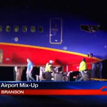 A Southwest Airlines flight that was scheduled to arrive at Branson Airport in Missouri instead landed at an airport seven miles away (AP Photo/KSPR-TV)