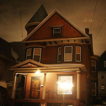 The 1901 Victorian home at 1217 Marion Street in Dunmore, Pennsylvania, which Gregory and Sandi Leeson advertised as slightly haunted (AP/The Times-Tribune, Jake Danna Stevens)