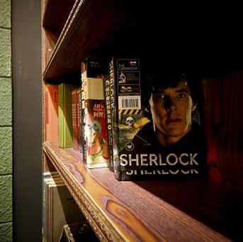 Sherlock Holmes book are on display at a cafe named in honour of Sir Arthur Conan Doyle's detective in Shanghai (AP)