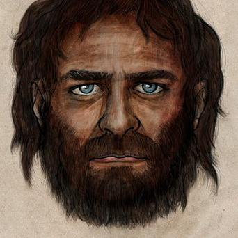 An artist's impression of the face of a 7,000 year-old man, reconstructed from his skeleton