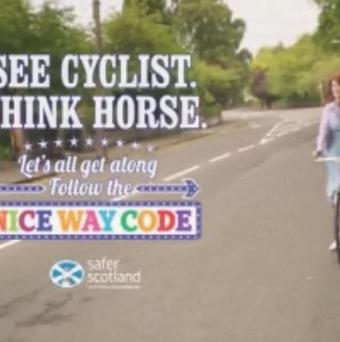 Undated still from a video issued by the Advertising Standards Authority (ASA) taken from a Cycling Scotland advert which has received five complaints.