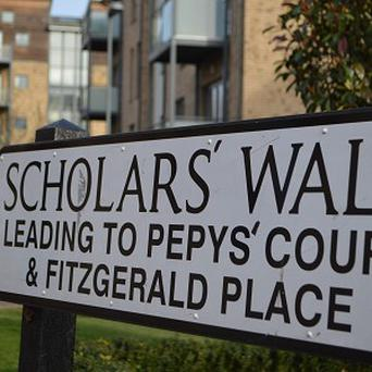 A street sign on Scholars' Walk in Cambridge which was corrected using marker pens