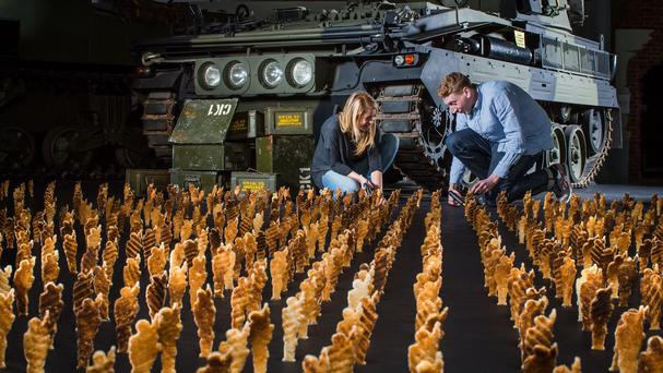 An army of 1,000 identical toast soldiers created by Eggs For Soldiers, deployed to raise funds for military charity Help for Heroes, are to be displayed at London's Royal Artillery Museum (Mischief PR/PA)