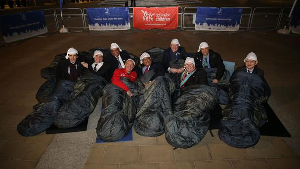 Some of Britain's top business leaders during the CEO Sleepout with Action for Children, in London's Paternoster Square