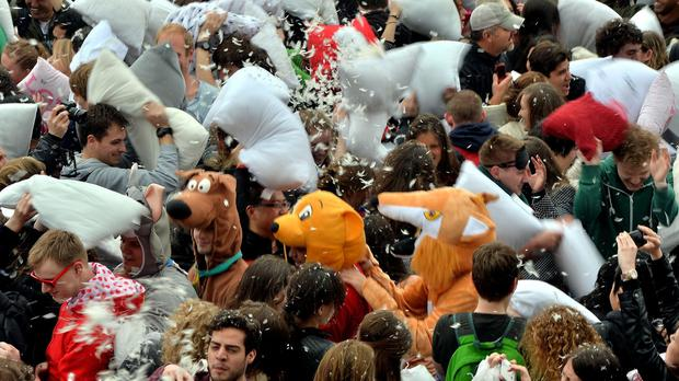 Feathers flew at a pillow fight in Trafalgar Square.
