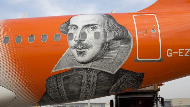A special edition easyJet plane with a 10ft image of William Shakespeare on the fuselage (easyJet/PA)