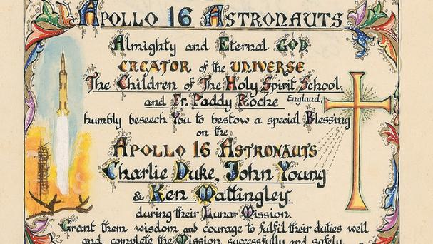 A hand-painted prayer made by British primary school children and presented to an Apollo astronaut more than 40 years ago (RR Auction/PA)