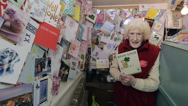 Esther Brauer, 83, with her good luck cards ahead of her retirement (Post Office/PA Wire)