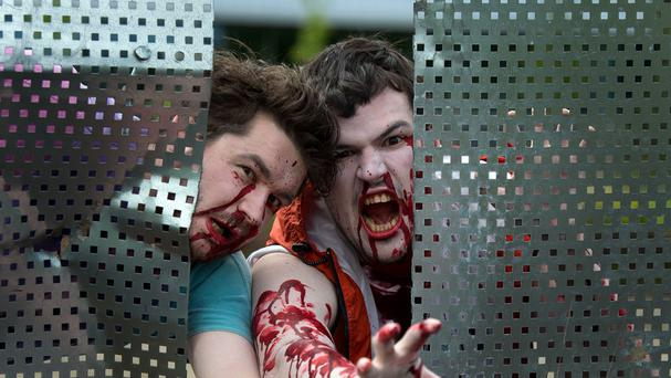 Zombies took to the streets of Prague on Saturday