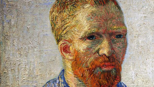 A detail from Self-portrait as an Artist by Vincent Van Gogh