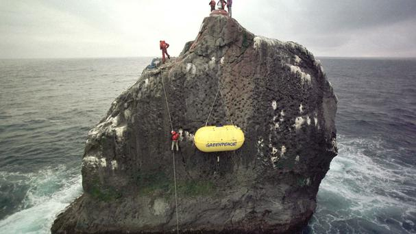 Greenpeace activists were among the previous visitors to Rockall.