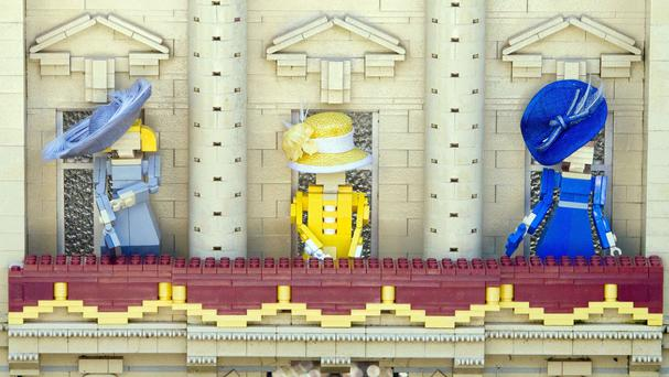 The Queen flanked by the Duchess of Cornwall (left) and the Duchess of Cambridge in Lego's take on the royal family.