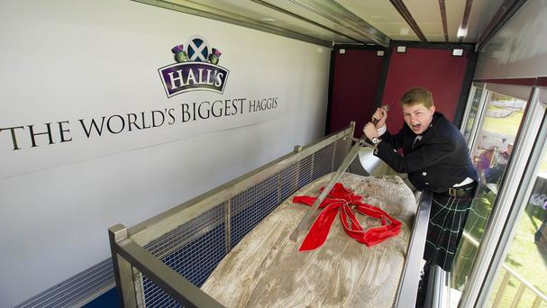 Cameron Hill, 15, cuts the record-breaking haggis at the Royal Highland Show in Edinburgh (Hall's/PA Wire)