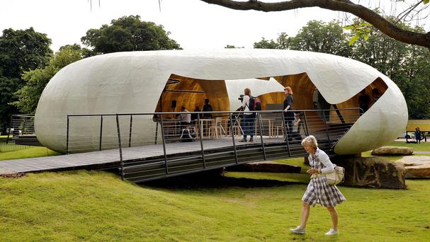 The 2014 Serpentine Pavilion in London's Kensington Gardens, designed by Chilean architect Smilijan Radic