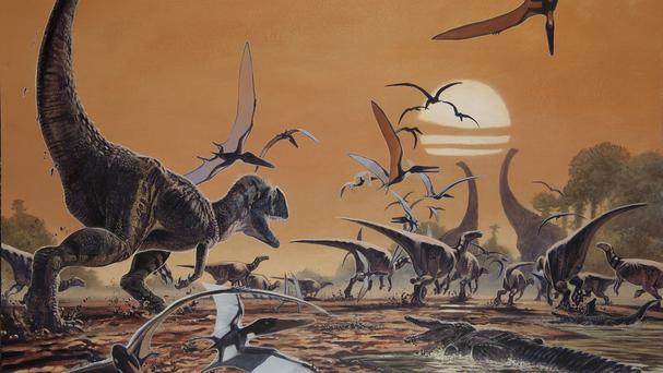 An artist impression of a scene reconstruction during the Early Cretaceous period, represented by fossils found on the Isle of Wight (Siri Scientific Press/PA)