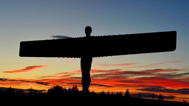 The banner was displayed near the Angel Of The North