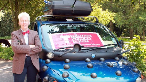 Clare Brookes, dressed as The Doctor, is part of a team tackling the Wacky Rally across Europe in their specially modified Dalek car, raising money for the Teenage Cancer Trust.