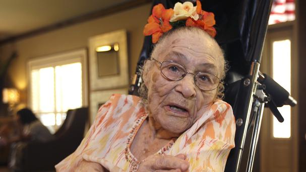 Gertrude Weaver prepares for her 116th birthday at Silver Oaks Health and Rehabilitation Centre in Arkansas. (AP)