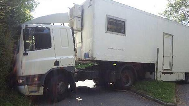 A lorry stuck in the village of Watton-at-Stone, near Stevenage, after the driver followed instructions from his sat-nav (Hertfordshire Police/PA)