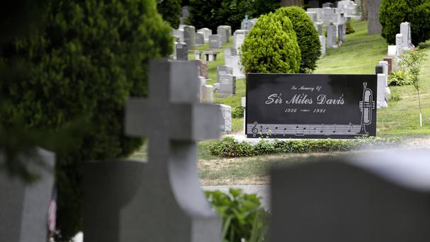 The gravestone of jazz great Miles Davis sits in Jazz Corner at Woodlawn Cemetery in the Bronx section of New York (AP)