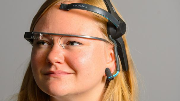 Chloe Kirton wearing Google Glass and a Neurosky EEG biosensor